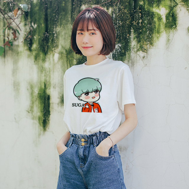 BTS Cartoon Face Printed Casual T-shirts