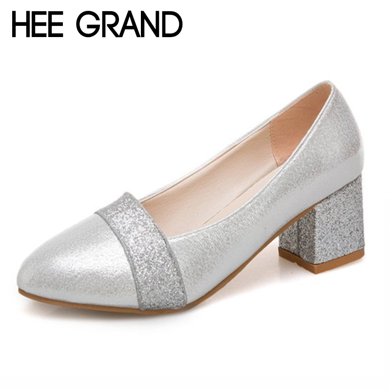 HEE GRAND Womens Pumps PU Leather Round Toe Thick Heels Shoes Bling Vamp Woman Solid Shoes Ladies Shoes 35-41 XWD6817HEE GRAND Womens Pumps PU Leather Round Toe Thick Heels Shoes Bling Vamp Woman Solid Shoes Ladies Shoes 35-41 XWD6817