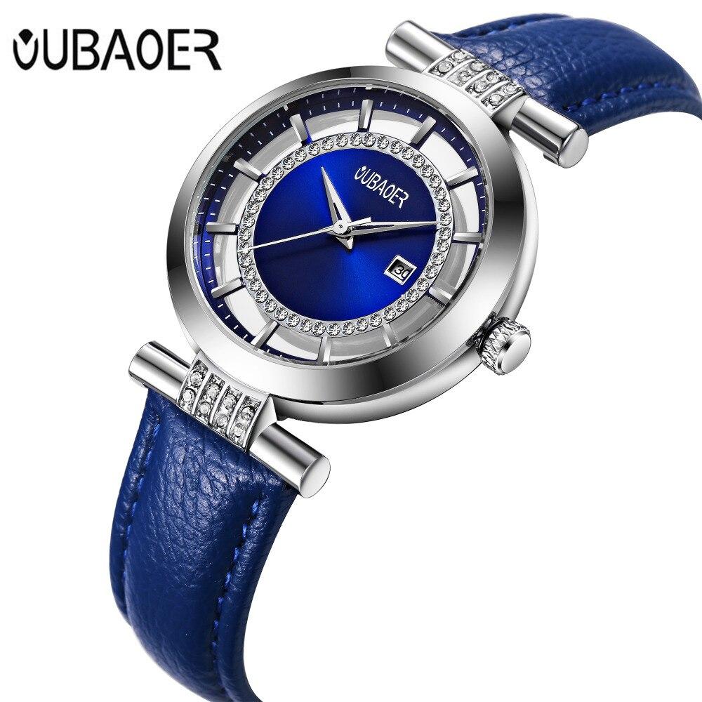 Women Bracelet Watch 2017 OUBAOER Luxury Brand Montre Femme Leather Band Quartz Watch Fashion Ladies Watch Relogio Feminino
