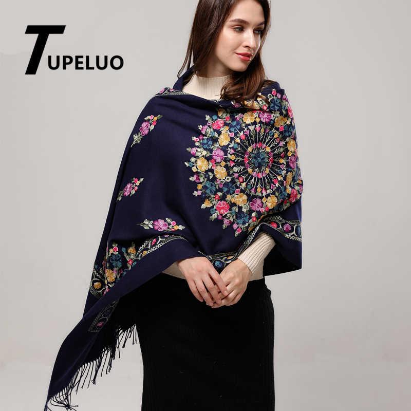 エレガントな花の刺繍カシミヤスカーフ女性 2020 新ファッションタッセル厚く冬のスカーフ最高品質のショールラップ