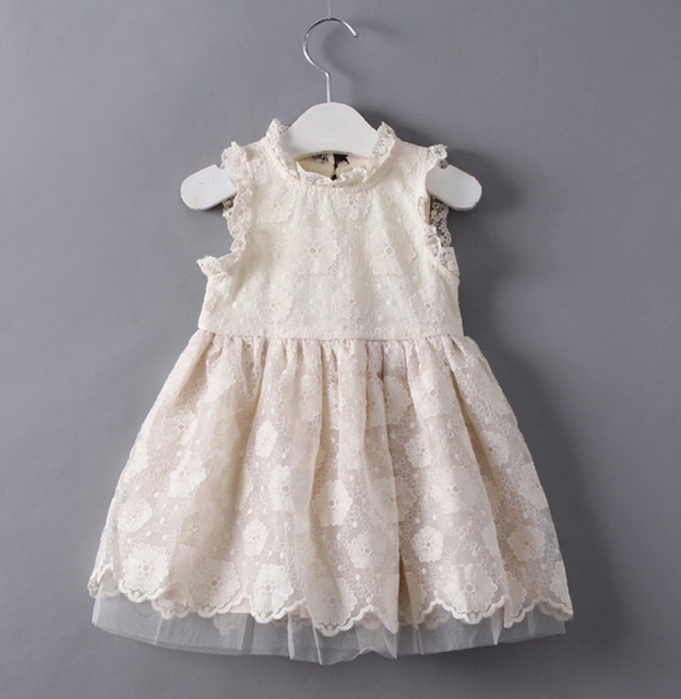 New arrival Baby Girls Party Lace Tulle Flower Gown Fancy Dridesmaid Dress  Sundress Girls birthday wedding party Dress beige 5fadd1d8fb1f