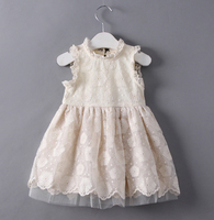 New arrival Baby Girls Party Lace Tulle Flower Gown Fancy Dridesmaid Dress Sundress Girls birthday wedding party Dress beige
