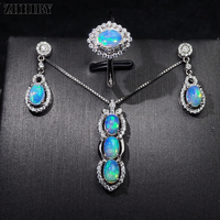 Natural Color Opal Gemstone Jewelry Sets Genuine Solid 925 Sterling Silver For Women Ring Necklace Earring ZHHIRY