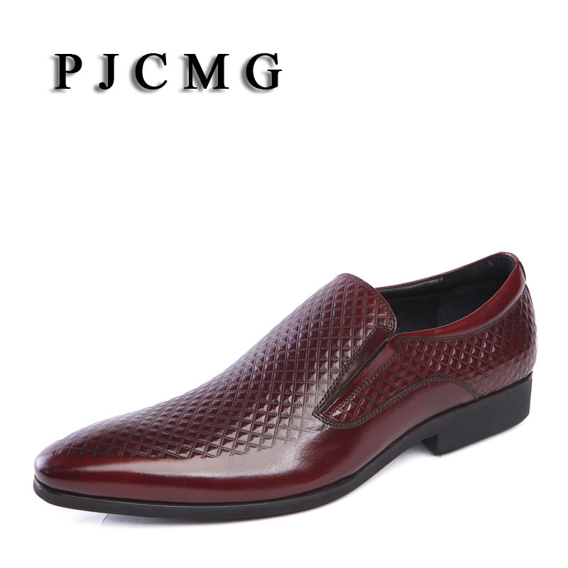 PJCMG New Arrivals Fashion Black/Red Genuine Leather Slip-On Pointed Toe Solid Flats Breathable Business Popular Male shoes breathable big size flats prom monk strap wedding party genuine leather men pointed toe dress shoes solid red fashion autumn hot