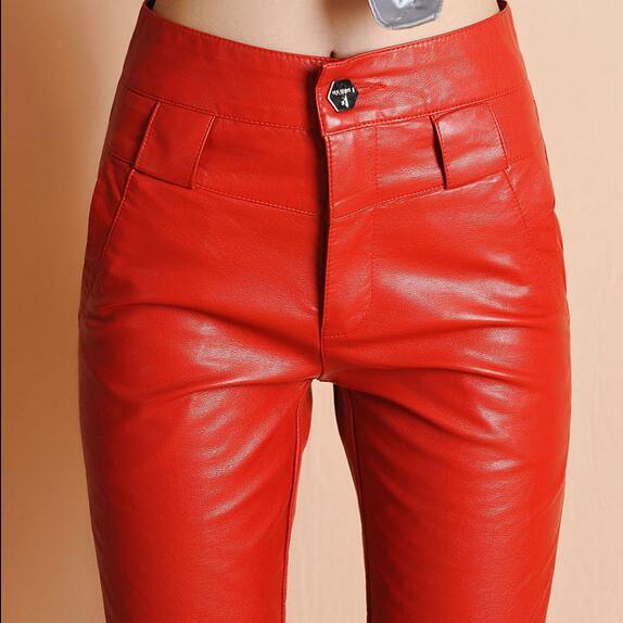 Sexy negro Largo Ah494 Pantalones Pu Más Rojo Cintura Mujeres Invierno Tamaño 2018 Slim Otoño De Alta Formal Cuero POqW4zxw