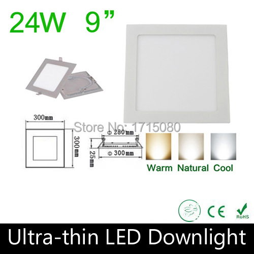 10 pcs/lot Thickness 24W LED panel light 300* 300mm square LED Recessed ceiling light natural white flat lighting lamp Via DHL