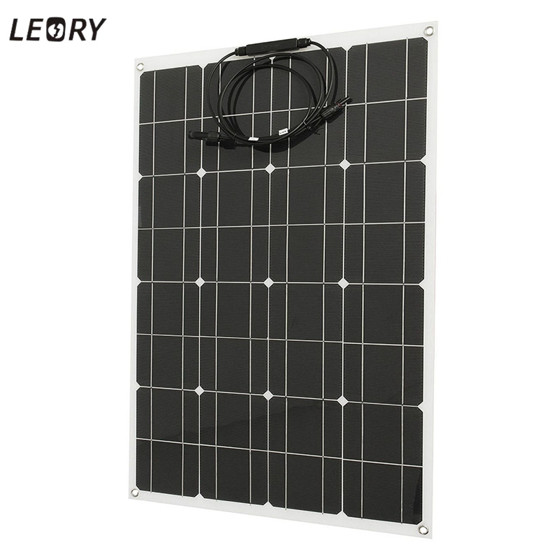 LEORY 80W 12V Flexible Solar Panel + Wire Solar Cells DIY Battery System Kits For Camper RV Boat Pump Light Home Battery Charger solarparts 2x 180w flexible solar panel cell system diy kits 12v for rv boat home front junction box mc4 connector 125 125mm sun
