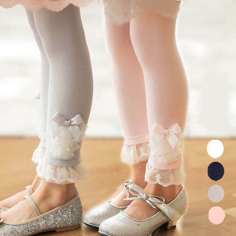 2-8Y Girls pants high quality cotton Leggings floral girls lace leggings with pearl decoration toddler girls autumn clothes