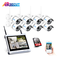 Wireless 8CH CCTV System 12 LCD Monitor NVR P2P 720P HD Outdoor IR Night Vision Security