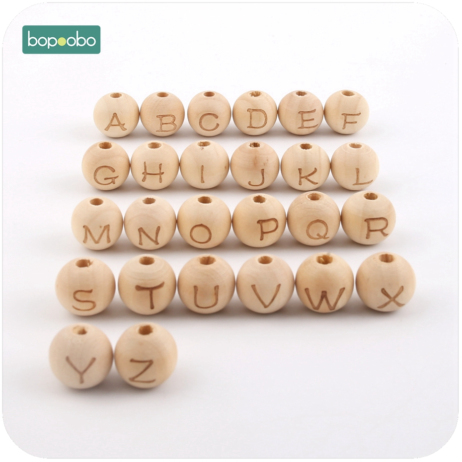 Bopoobo Baby Teether Nursing Accessories Round Shape 12mm 20pc Chew Wooden Maple Letter Beads DIY Crafts  Sensory Chewing Toy