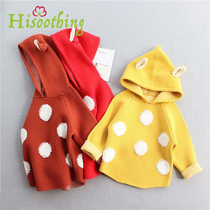 Baby Hooded Sweater Girls Long Sleeve Dot Cute Knitted Sweater The Autumn&winter New Arrival toddler Girls Casual Kids Clothes 2017 new women xxl 3xl 4xl big size autumn winter casual dress polka dot print fashion long sleeve knitted sweater tops dresses