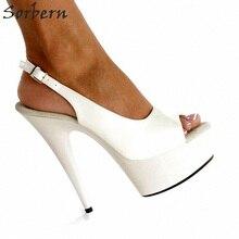 Sorbern White Pu Open Toe Platform Heels Woman Shoes Women High Heel Shoes  Diy Colors Luxury c6f4e2732f52