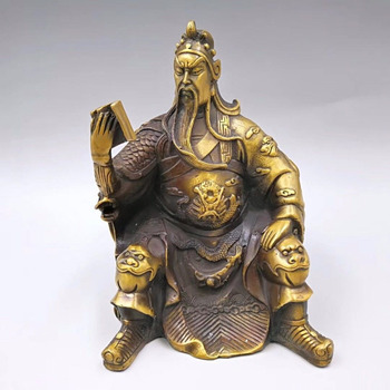 Chinese Exquisite Brass gold-plated Guan Gong Learning Tactics Statues