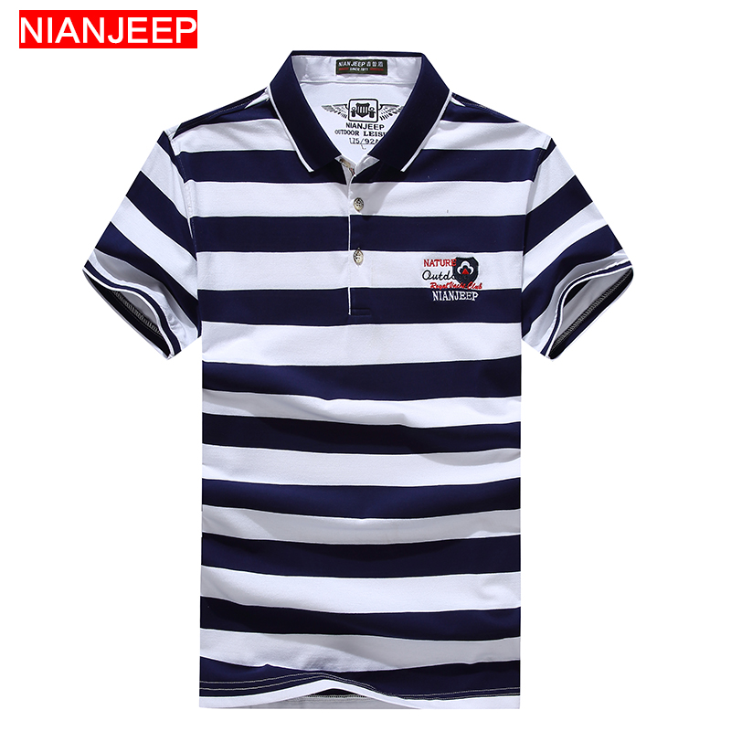 NIANJEEP Brand Summer High Quality New Men Fashion Striped   POLO   Shirts Breathable Male Cotton Casual Short Sleeve   Polo   Shirt