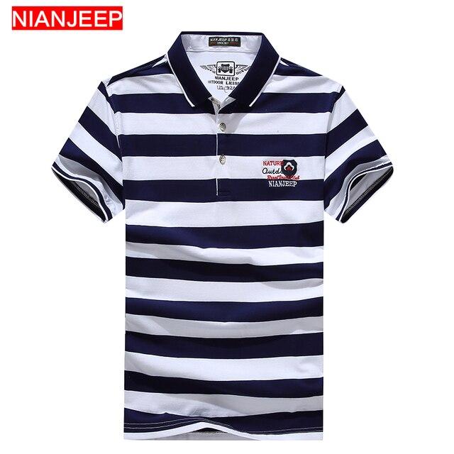 3d88f0b98eb0 NIANJEEP Marca de Verão de Alta Qualidade Novos Homens Da Moda Camisas PÓLO  Listrada de Algodão