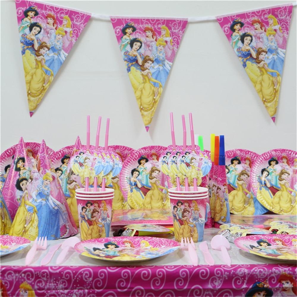 Birthday table decorations for girls - 79pcs Cartoon Princess Girls Birthday Decoration Supplies Paper Plates Cups Flags Table Cover