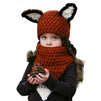 Autumn Winter Toddler Infant Baby Hat Adorable Fox Hat For Girl Crochet Ski Cap Baby Hat
