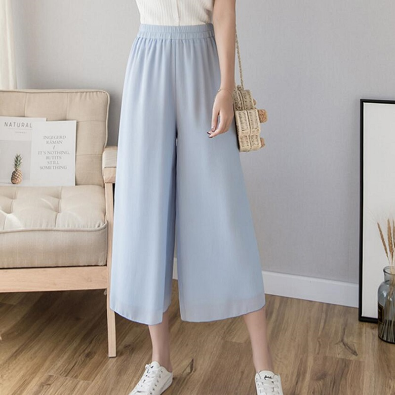 2019 Spring Summer New Fashion Women High Waist Wide Leg Solid   Pants     Capris   Female Elastic Waist Chiffion   Pants   women LY340