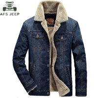AFS JEEP Brand Clothing Thick Warm Winter Denim Jacket Men Stand Collar Plus Size 4XL Mens Jeans Cowboy Jacket Jaqueta masculina