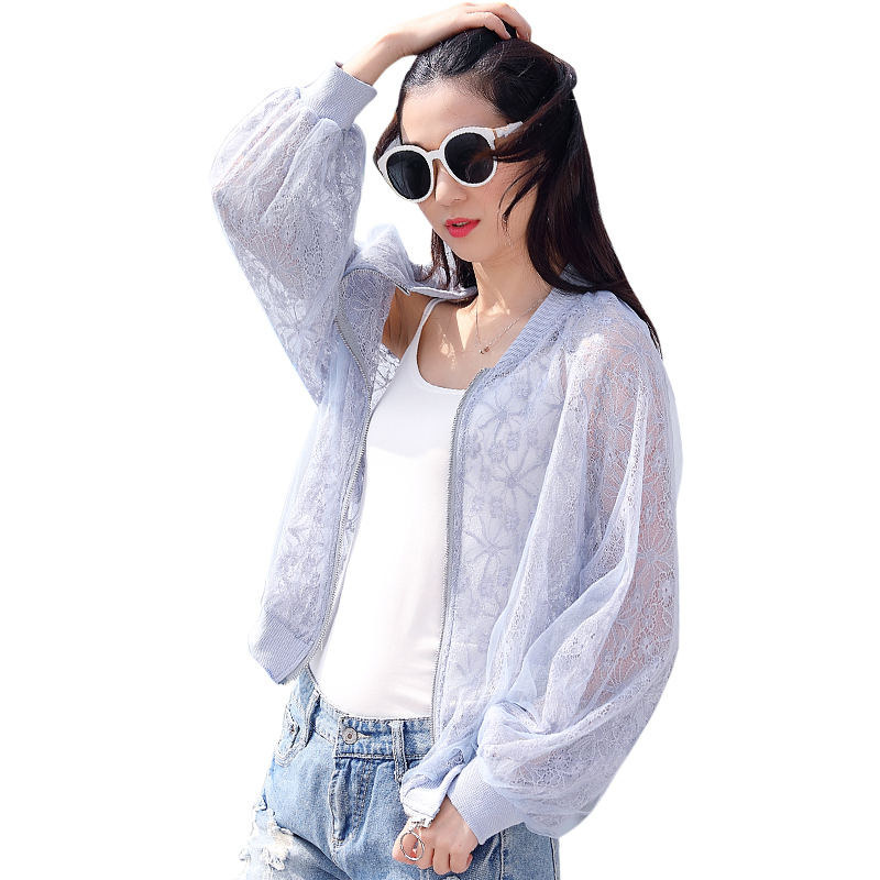 Spring Summer Jacket Women Sunscreen Cardigan Lace Patchwork Transparent Jacket Plus Size Zipper Casual Slim Jacket Coats Q1217