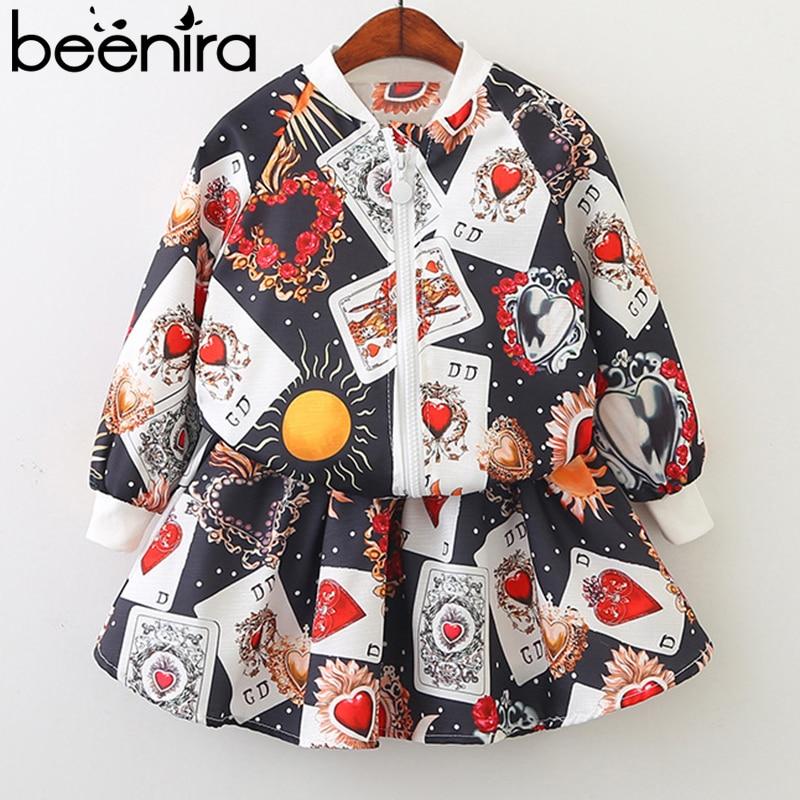 Beenira meiteņu apģērbu komplekti 2019 Wionter stila bērni Virsdrēbes rakstu druka apģērbu kostīmi Bērnu jaka un kleitas 2Pc komplekts