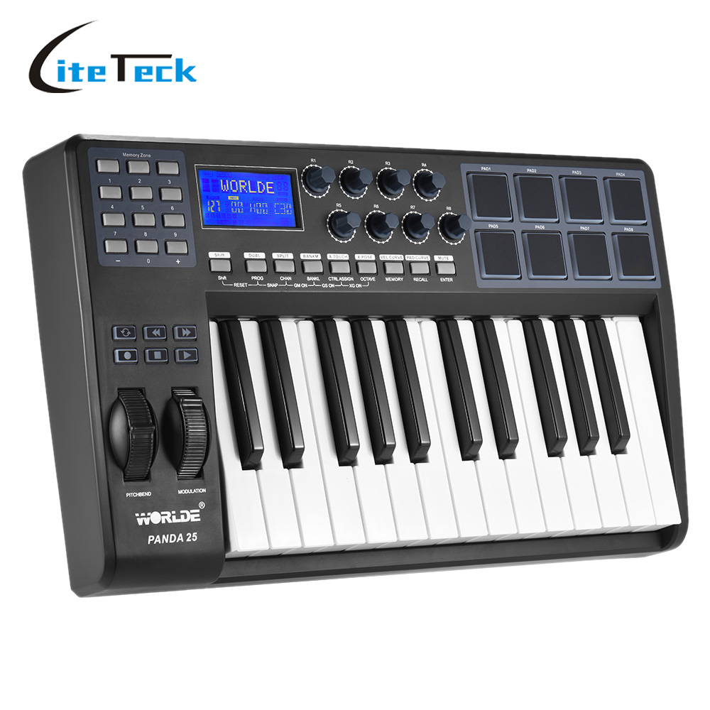 buy 25 key ultra portable usb midi keyboard 8 drum pads controller with usb. Black Bedroom Furniture Sets. Home Design Ideas