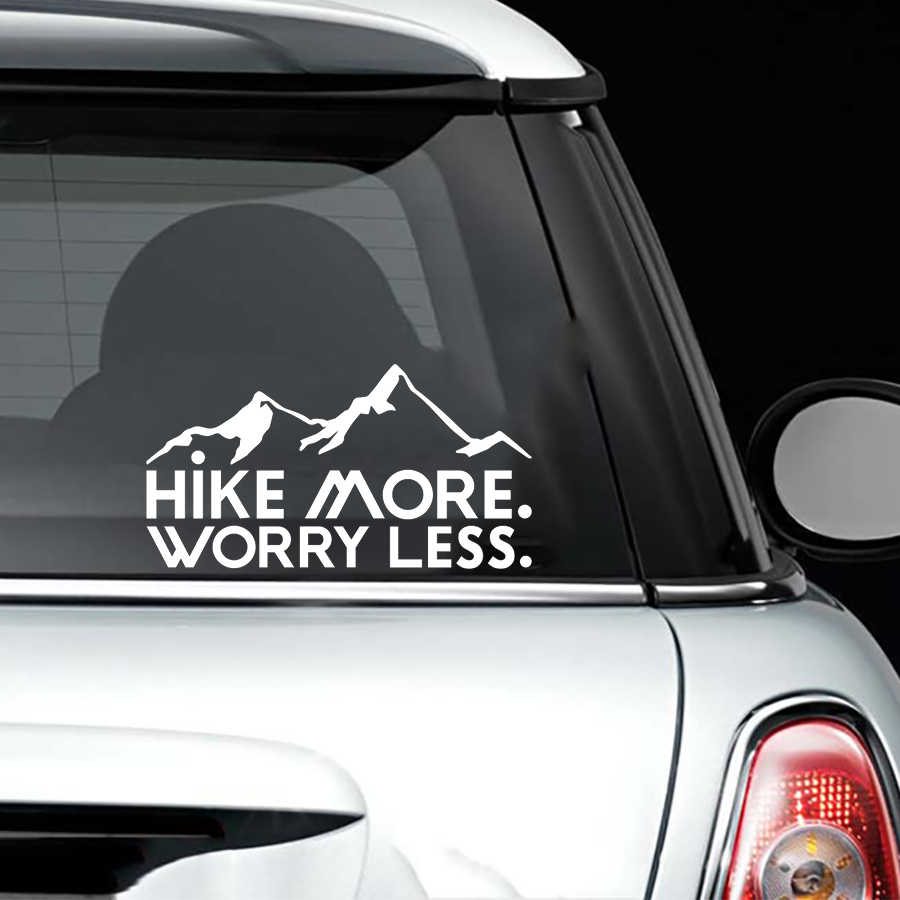 158cm hike more worry less vinyl decal car window vehicle sticker nature hiking motorcycle
