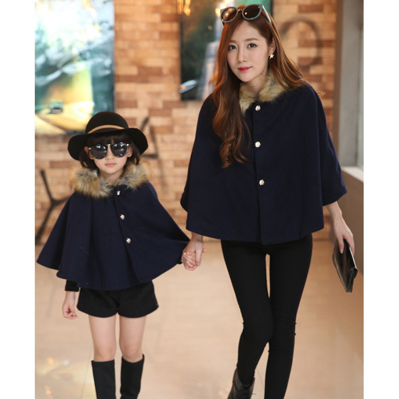 Mother And Daughter Clothes Fashion Woolen Overcoat Ponchos Fur Collar Hoodies Winter Cape Coat Family Look Christmas Clothing Mother & Kids