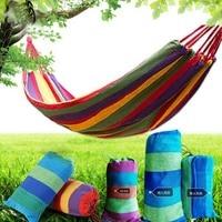 Rainbow Color Portable 130 kg Load bearing Outdoor Garden Hammock Hang Bed Travel Camping Swing Survival Outdoor Sleeping