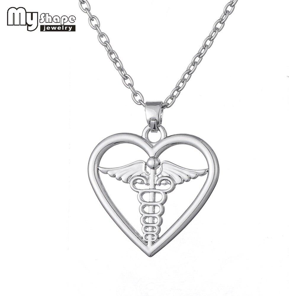 7c9f6e252deb Mi forma símbolo médico del Caduceo del collar del corazón médico y  enfermera joyería profesional joyería Día de San Valentín