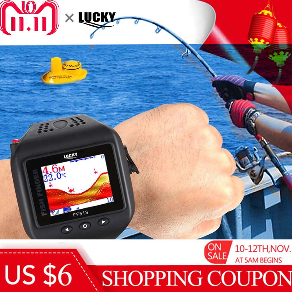 LUCKY FF518 2 In 1 Watch & Fish Finder Wireless Sonar Watch Fish Finder Portable Echo Fishing Sounder Lightweight LCD Fishfinder runacc smart portable fish finder wireless fishfinder portable fish finder with wireless sonar sensor and lcd display