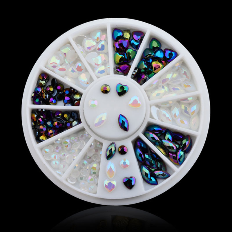 AB Colour White Black Nail Crystal Stones Rhinestones Flat Back Multi-Size Manicure DIY Nail Art 3D Nail Art Decoration In Wheel