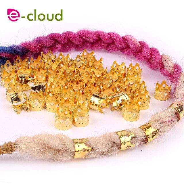 100 желтое металлическое кольцо для волос в форме короны бусины фотография