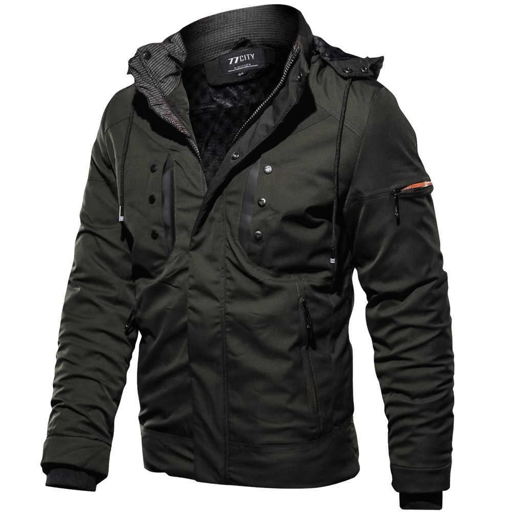 انخفاض الشحن سميكة الدافئة رجل سترة سترة الشتاء الصوف متعددة جيب عارضة التكتيكية الجيش سترة الرجال زائد حجم 4XL معطف مقنع