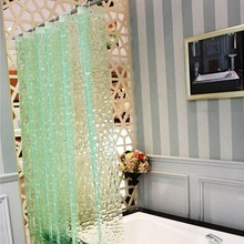 Curtains Waterproof Bathroom Plastic Shower 3D PEVA Thickened Household Green