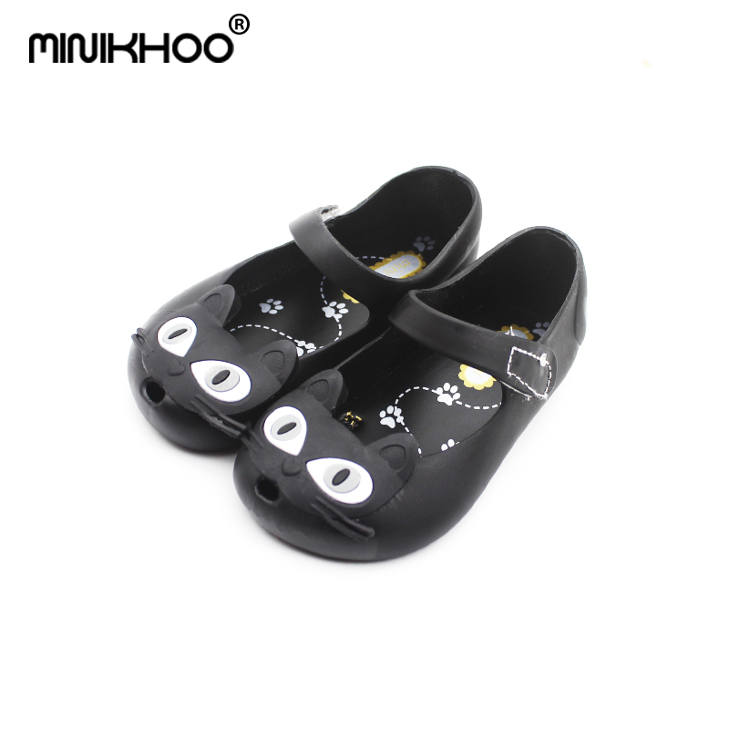 Mini Melissa 2018 New Mini Jelly Shoes Cat Head Princess Shoes Soft Fish Mouth Baby Sandals Girls Cool Slippers Melissa Shoes