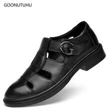 цены 2019 new style men's sandals summer breathable shoes black man shoes leather genuine fashion sandals for men big size work shoe