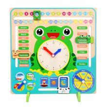 Деревянный мультфильм лягушка календарь часы набор детский деревянный календарь время познавательный, на поиск соответствия игрушки детские развивающие Игрушки для раннего обучения