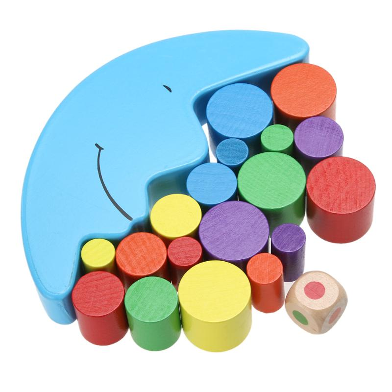 Cute Wood Moon Balancing Toys Baby Early Learning Teaching Toy Educational Toys Building Blocks Kids Children Gift Present