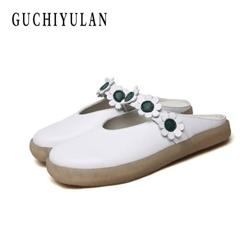 Ручной работы Для женщин тапочки из натуральной кожи с закрытым носком с цветочным рисунком Женская обувь на платформе шлепанцы с бантом та...