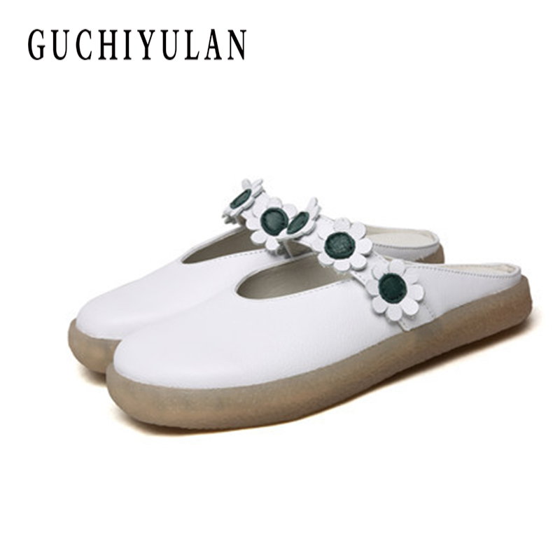 Handmade Women Slippers Genuine Leather Closed Toes Flower Platform Women Shoes Slides Hollow bow slippers ladies flip flops