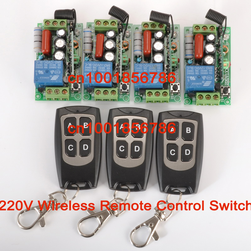 wireless Power Switch System 4 Receiver&3Transmitter 220V 1CH 10A output state is adjusted 1CH 1000W Non-Latched/self-Latched cctv 220v 1ch wireless power switch system 4 receiver
