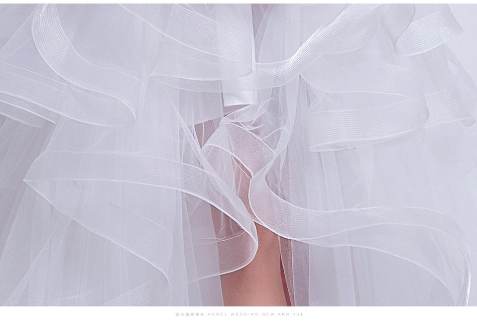 Angel Wedding Dress Marriage Evening Bride Party Prom Bridal Gown Vestido De Noiva 2017 Boat Neck asymmetrical7207 19
