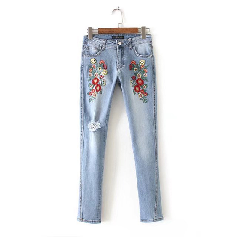 2017 Vintage Floral Embroidery Beading Women Denim Jeans Ankle-Length Fashion Pencil Pants Europe Style Ladies Casual Trousers 2017 fashion women jeans retro style floral embroidery ripped hole denim pencil pants vintage mid waist ankle length trousers