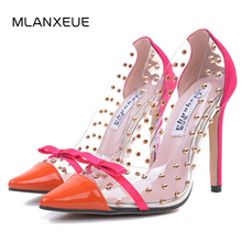 MLANXEUE Fashion Rivets High Heels 2018 New Transparencies Pointed Toe Women Pumps High Heels Shoes Sapato Feminino Sexy Shoes