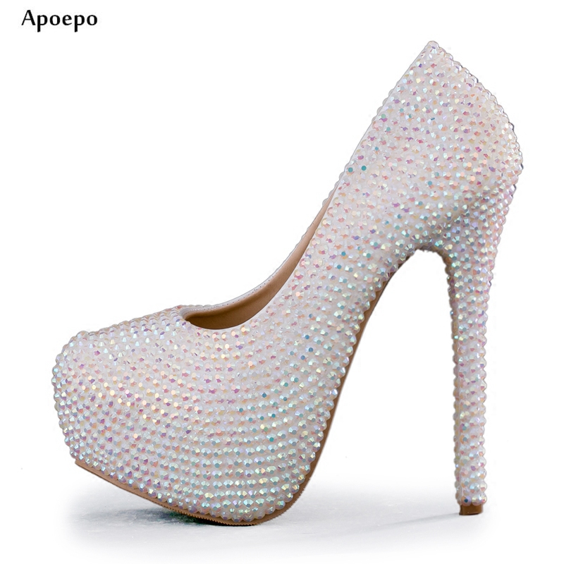 Apoepo Bling Bling Crystal Embellished High Heel Shoes 2018 Woman Fashion Thin Heels Shoes Sexy Platform Pumps the Bride heels apoepo handmade wedding bride shoes bling bling crystal pregnant shoes 3 5 cm increased internal low heels shoes mary janes shoe