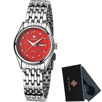 WWOOR Women Watches Brand Luxury 50m Waterproof Date Clock Ladies Quartz Sport Wristwatch Women Silver Bracelet