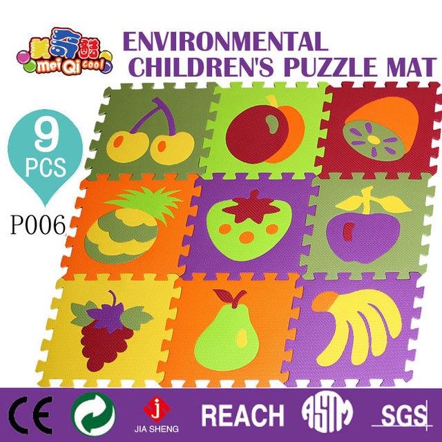 Meiqiku Pacote De Frutas Brinquedo Do Miúdo Do Bebê Jogo Ginásio Pad, crianças Rastejando Esteira do Jogo de Puzzle de Espuma Eva 30*30*1 cm 9 Pcs Set
