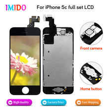 цена на 20Pcs Compeletly Full Set For iPhone 5C LCD Display Home button+Front camera Touch Screen Digitizer Assembly Free DHL Shipping
