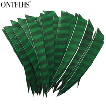 ONTFIHS 50pcs 5 Right Wing Or Left Wing Shield Cut Striped Green One Side Archery Arrow Feather Fletches Fletchings Feathers cooper j wing and wing or le feu follet